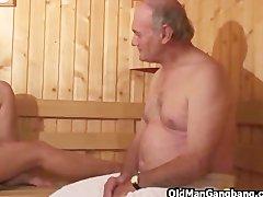 Preview 8 of Hot Euro Sauna Gangbang