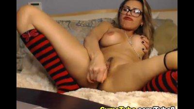 Busty Latina Masturbates with Dildo on Cam