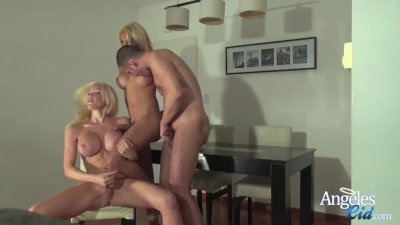 Angeles Cid playing with Sebastian and Ana Mancini