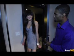 Preview 1 of Asian Shemale Superstar Gets Fucked By Big Ebony Cock