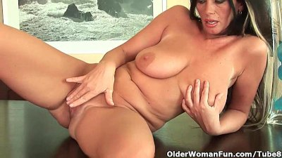 Mature mom with big tits and creamy pussy