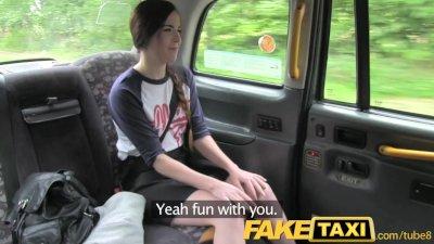 FakeTaxi Spanish Tourist struggles with big taxi cock