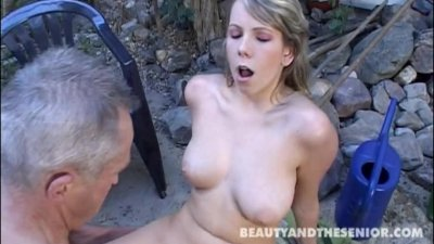Teen suck and fuck an old cock in the garden