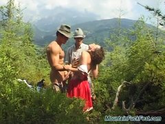 Preview 2 of Extreme Threesome Sex In Nature