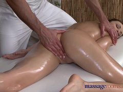 Preview 7 of Massage Rooms Sexy Client Enjoys Stud's Big Hard Cock In Her Shaved Hole