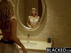 Preview 2 of Ebonyed Stunning Blonde Karla Kush Takes Massive Ebony Cock