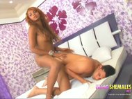 Preview 8 of Hot Hung Latina Shemale Sittng On Cock