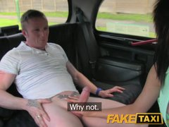 Preview 5 of Faketaxi Outrageuos Hardcore Threesome In The Back On A London Taxi