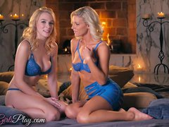 Preview 1 of When Girls Play - Two Hot Blonde Lesbians By The Fire