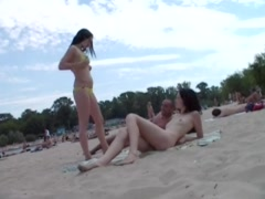 Preview 7 of Two Skinny Nudist Teens Frolic Around The Beach