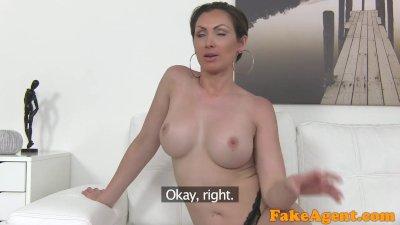 FakeAgent Big tits Australian sucks and fucks on casting couch for job