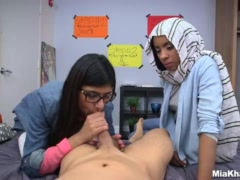 Preview 7 of Blowjob Lessons With Mia Khalifa And Her Arab Friend (mk13818)