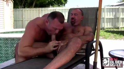 Big Dicked Daddy Jason Proud Fucks Muscle Bear Brock by the Pool